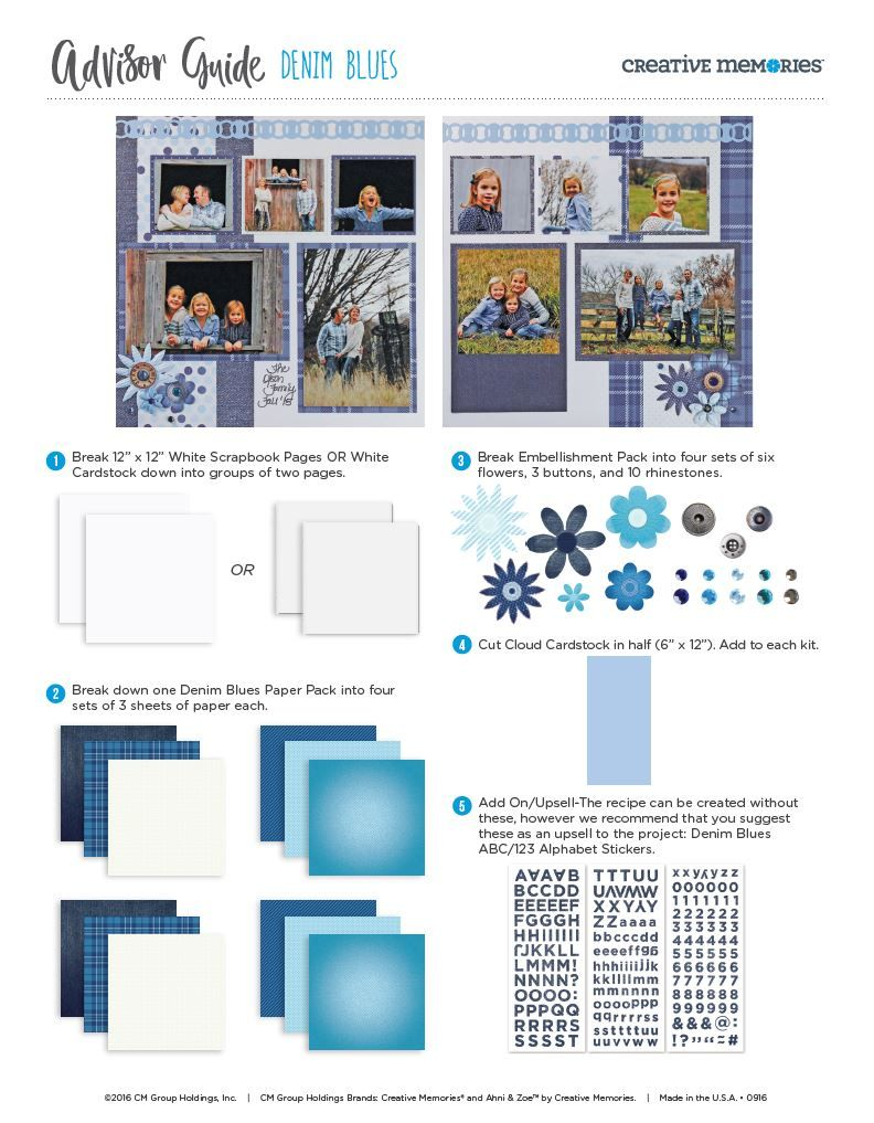 NEW Creative Memories BLUE FLORAL Paper Pack 12 x 10-10 Sheets