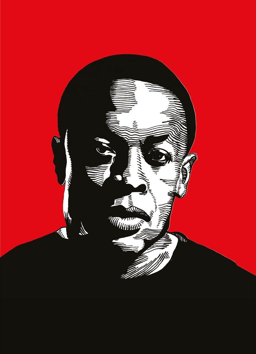 Image of fine art print compton graffiti writing texture drawing vector portrait hip