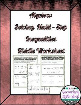 Multistep Inequalities Practice Riddle Worksheet Algebra