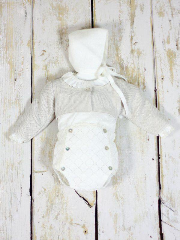 185aac1ca conjunto-crudo bebe chaqueta bautizo invierno