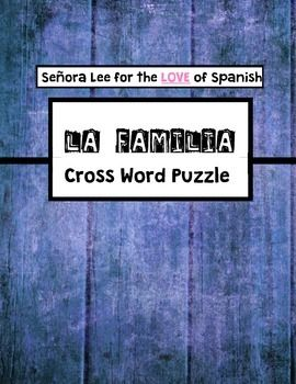 Spanish Family Vocabulary / La Familia CROSSWORD | SPANISH