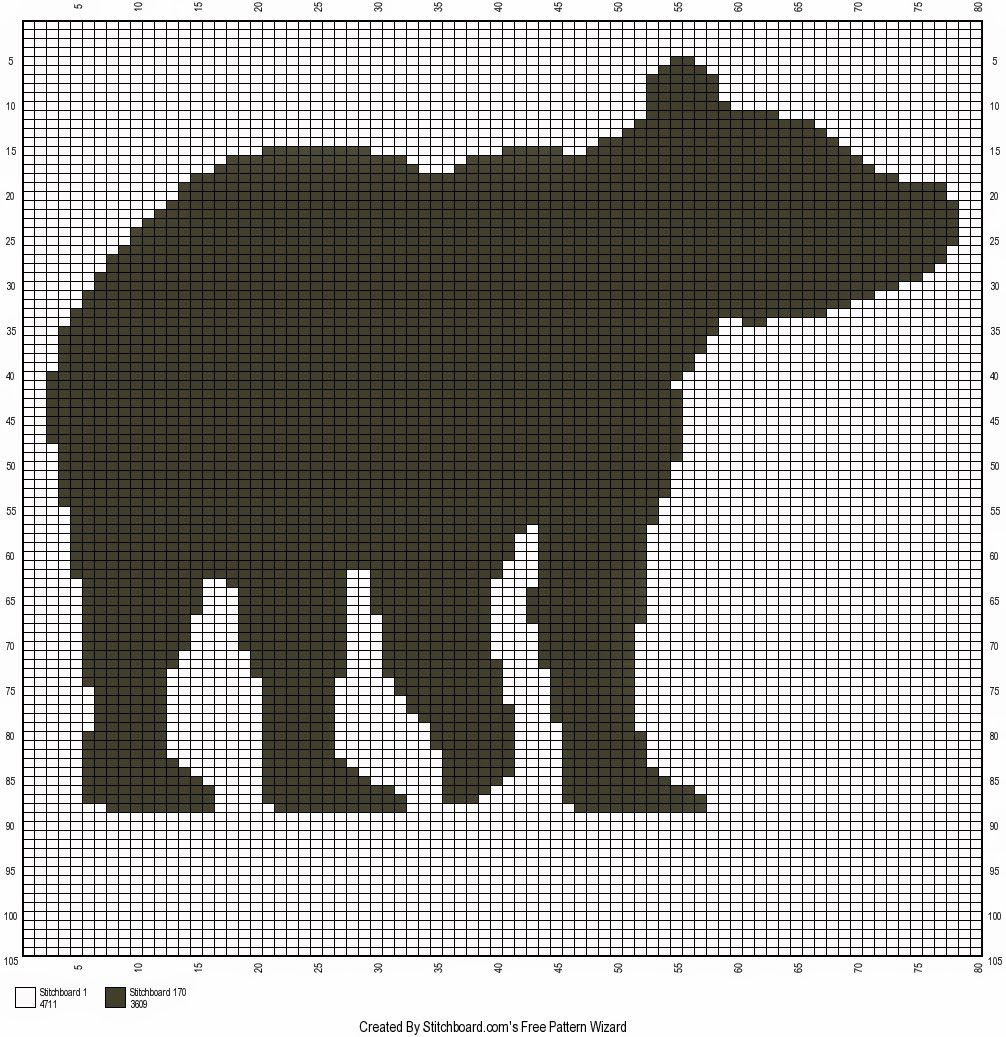 free bear silhouette crochet chart follow this graph to make a great hunting outdoors themed crochet pillow  [ 1006 x 1037 Pixel ]