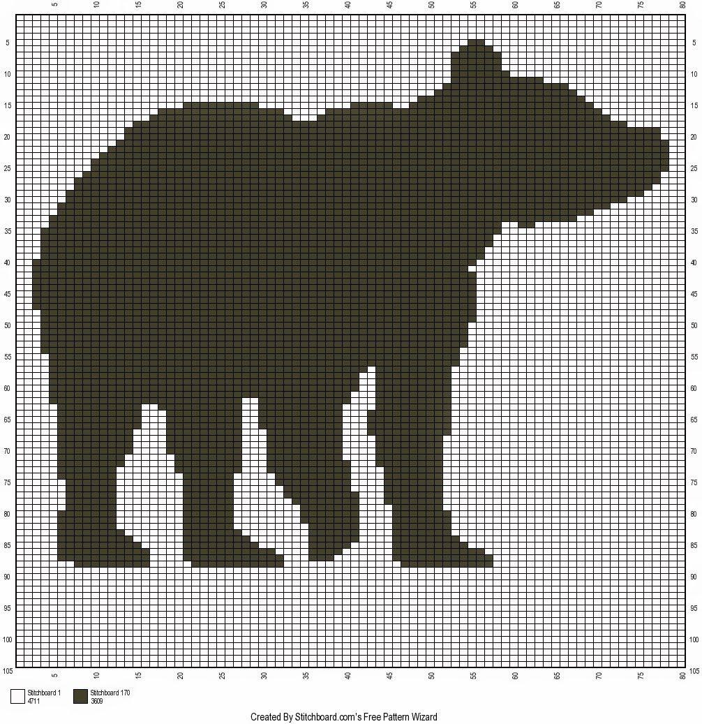 Crochet Patterns WOODLAND FRIENDS BEAR AND DEER Graph//Chart Afghan Pattern