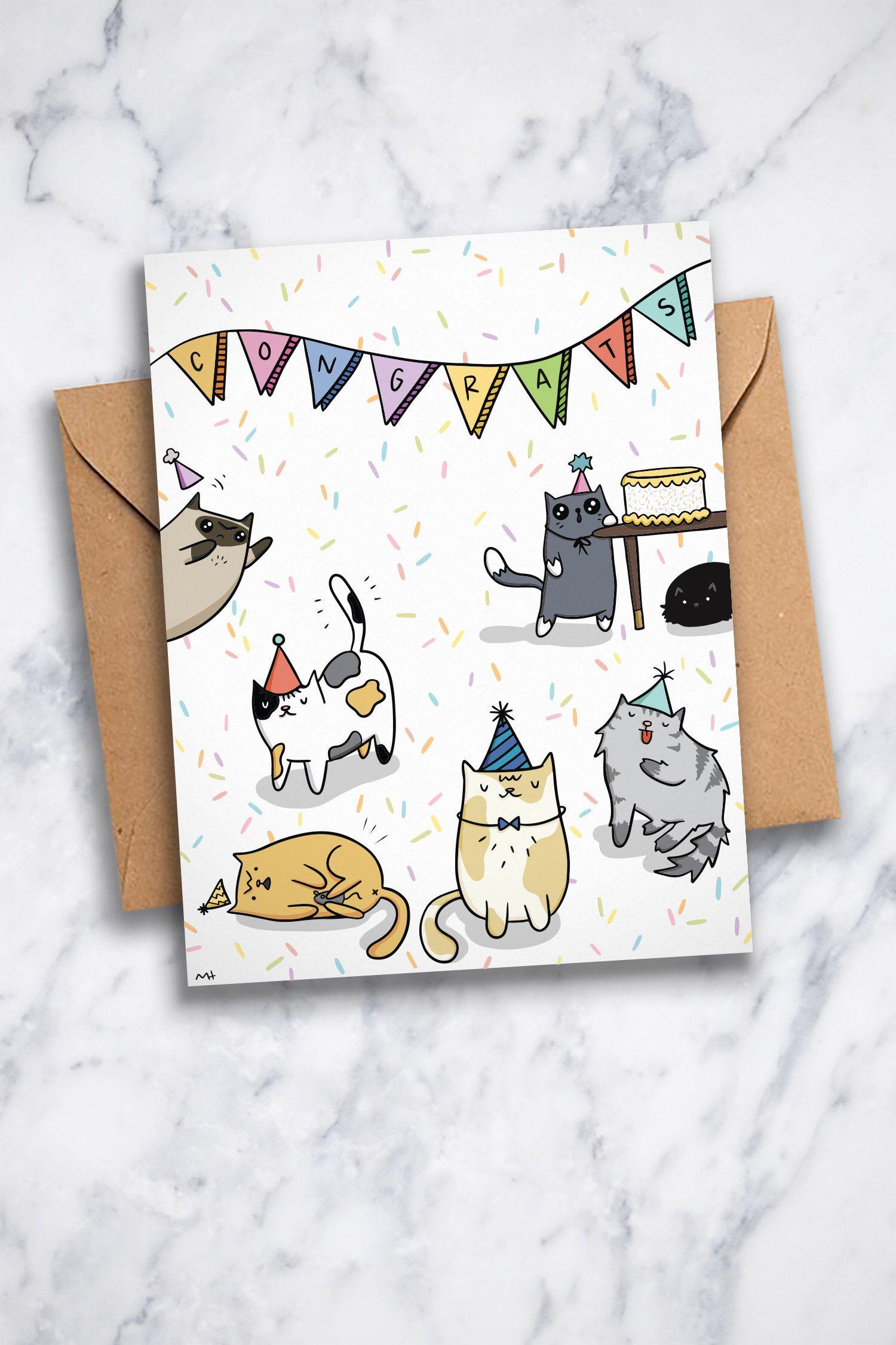 Cat watercolor Printable Folding birthday Card