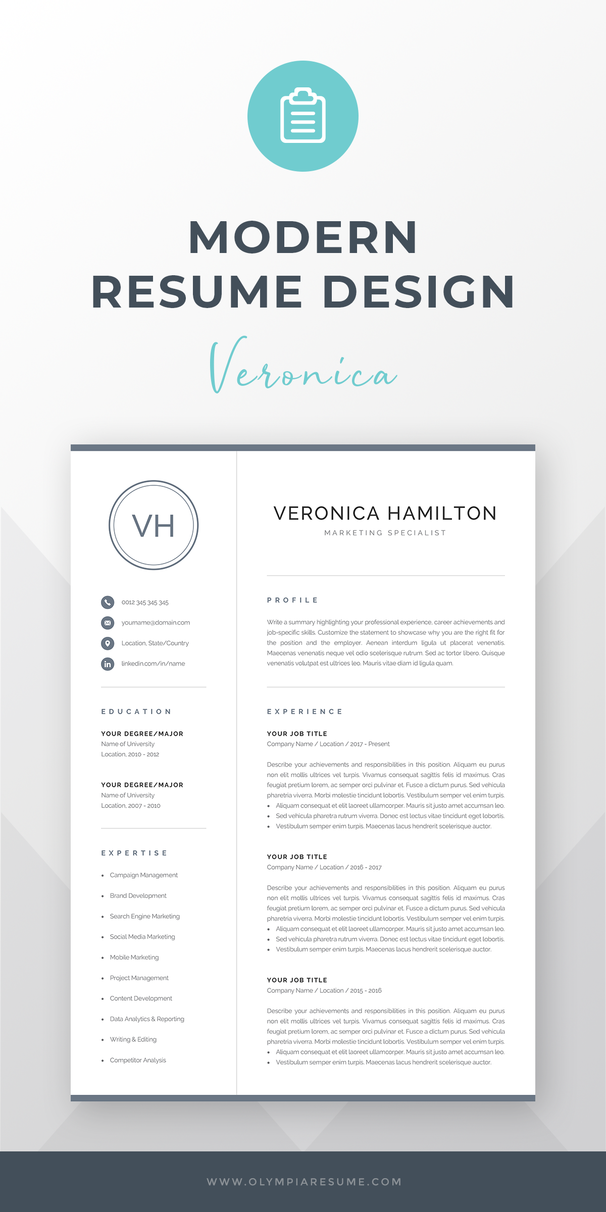 Resume Template With Monogram 1 2 Page Resume Modern Etsy Modern Resume Design Resume Design Resume Design Free