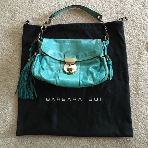 SALE Barbara Bui Purse Pre-famous Barbara Bui handbag in a lovely turquoise leather with brass accents. Clasp is a little tricky and has a shabby chic bronze appearance, but once you figure it out, contents stay put. Beautiful condition. Smoke free home and stored in dust bag. Barbara Bui Bags Shoulder Bags