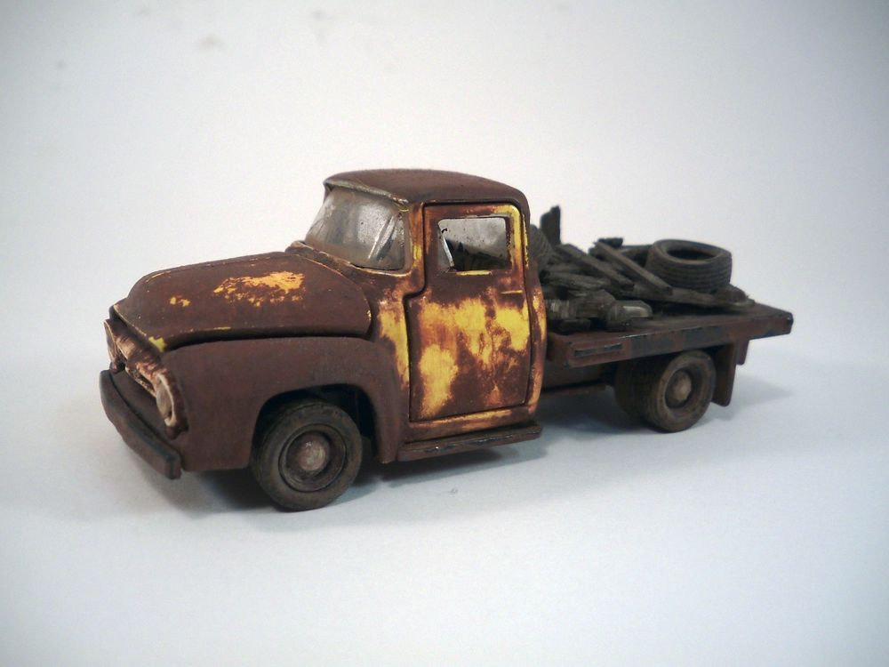 1956 Ford F 100 Stakebed Truck Custom Weathered Barn Find 1 64 Diorama M2 OOAK