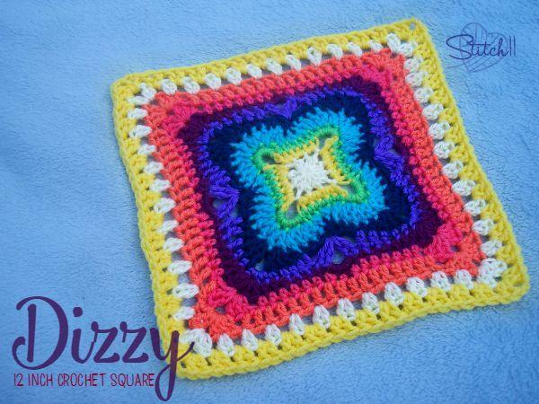 Mareado - 12 pulgadas crochet cuadrado - patrón de crochet libre por ...