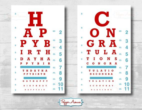 Doctor Or Nurse Party Eye Chart Birthday Or Graduation Party