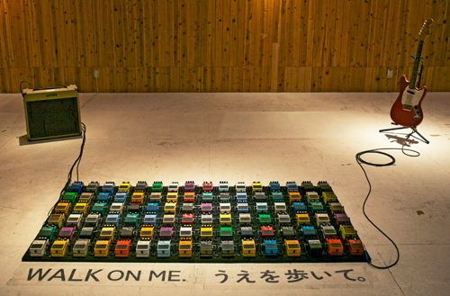 Guitar Pedals, An Interactive Art Installation of 96 Guitar Effects Pedals by David Byrne #guitarpedals