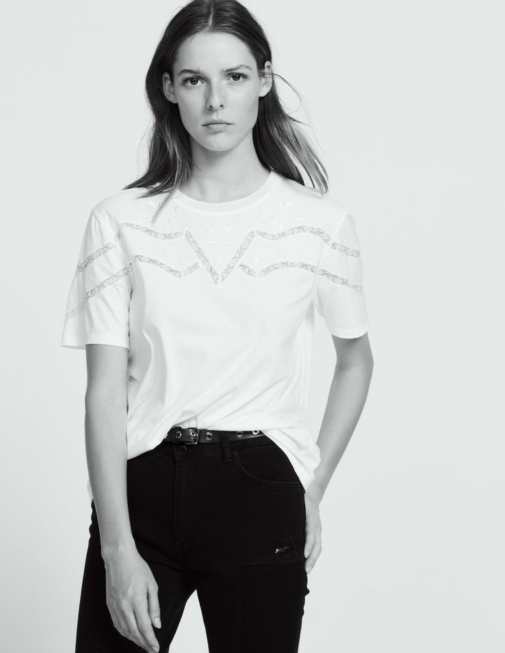 09b1408040 T-shirt with lace and embroidery inset - Tops & Shirts - Sandro Paris