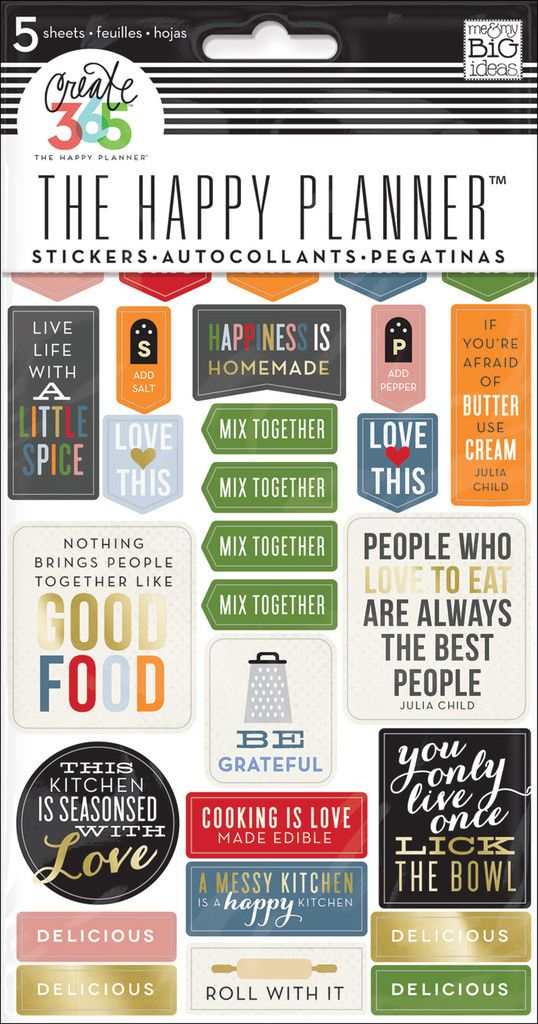 Recipe Organizer Stickers Planners, Big and Happy planner