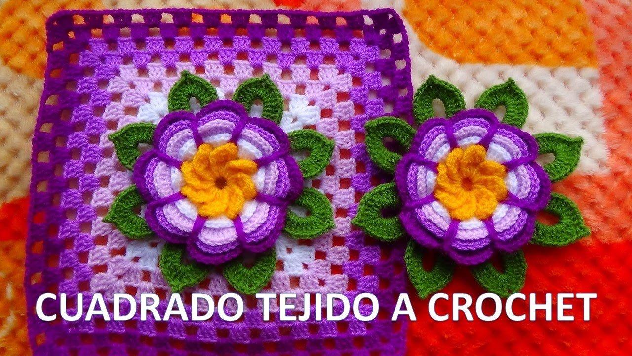 Cuadrado o grany square con flor rosita lila tejida a - Mantas de ganchillo paso a paso ...