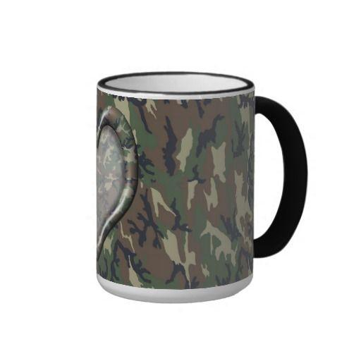 #Camouflage Woodland Forest Heart on Camo Mugs by #Camouflage4you #miltary #camouflagemug #coffeemug #militarymug