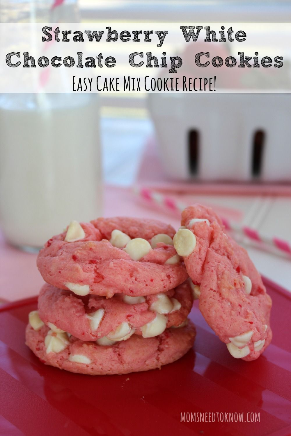 Strawberry Chocolate Chip Cookies From Cake Mix