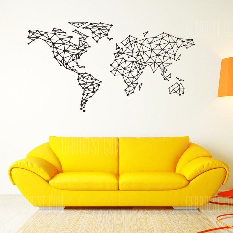 Geometric Design World Map Wall Sticker Vinyl Home Decor Wall Mural Sale Price Reviews Gearbest Wall Stickers Living Room World Map Wall Wall Murals