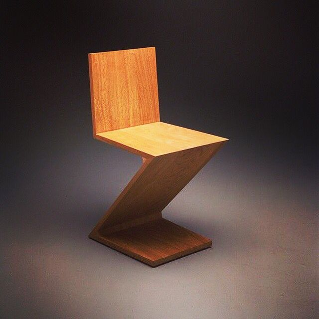 Zigzag Chair Designed By Gerrit Rietfeld 1934 Www Bauhaus Movement Com Wood Office Chair Contract Furniture Zigzag Chairs