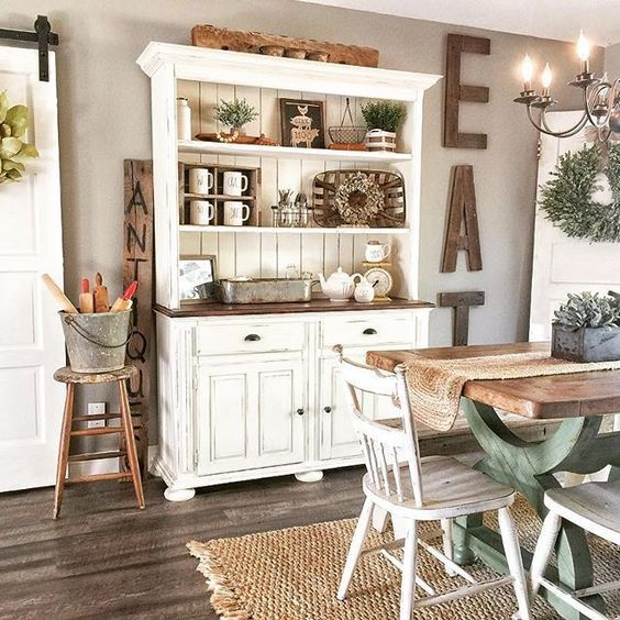 Pin On Muebles Cottage style dining room hutch