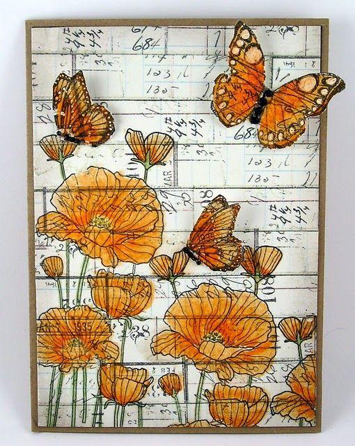 #art #journal #flowers #butterfly