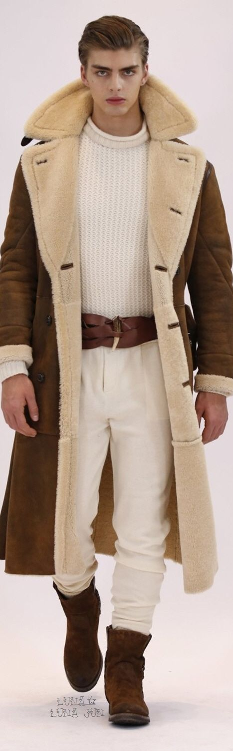 Ralph Lauren Fall 2016 Menswear - If you can get past the psycho stare of the model, this coat is rather cool