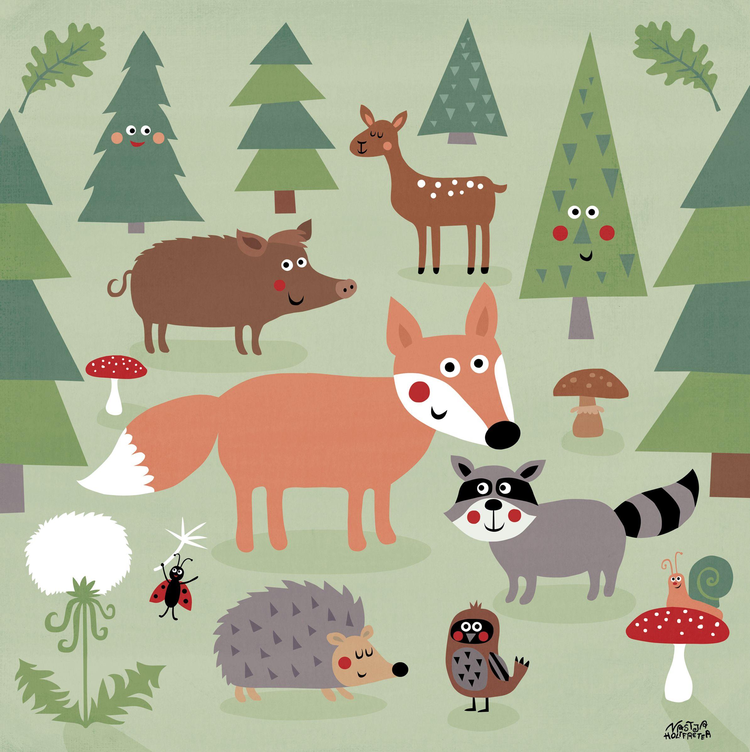 Mein buntes Kinderzimmerbild Trubel im Wald, Kartonage E