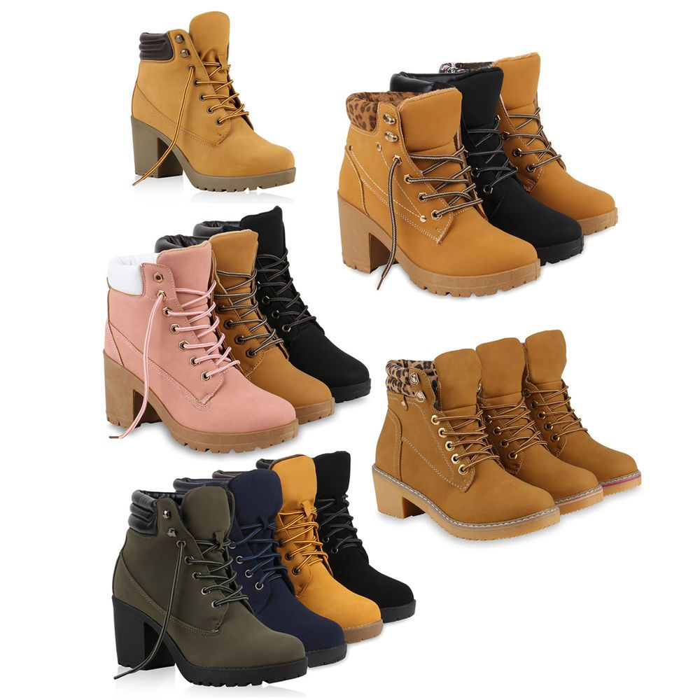 Damen Worker Boots Profil Sohle Block Absatz Stiefeletten