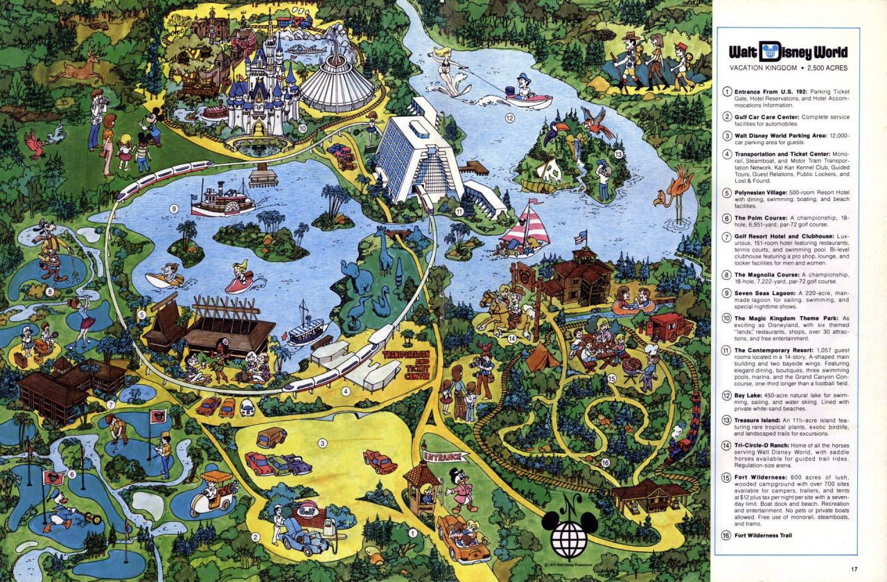 """deepwaterstudios: """" 1975 Walt Disney World Map Classic WDW resort ..."""