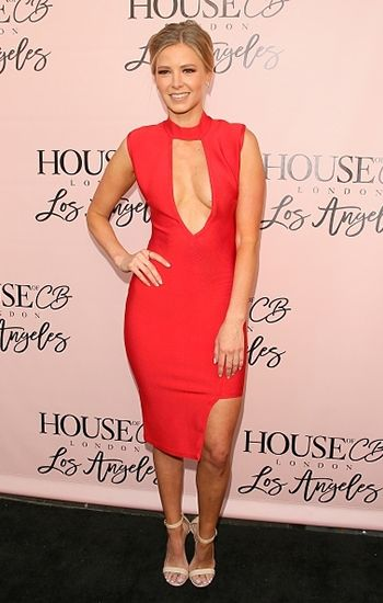 15369bbe36b Ariana Madix wearing a House Of CB Kamaria Red Asymmetric Bandage Dress.   style  celebstyle