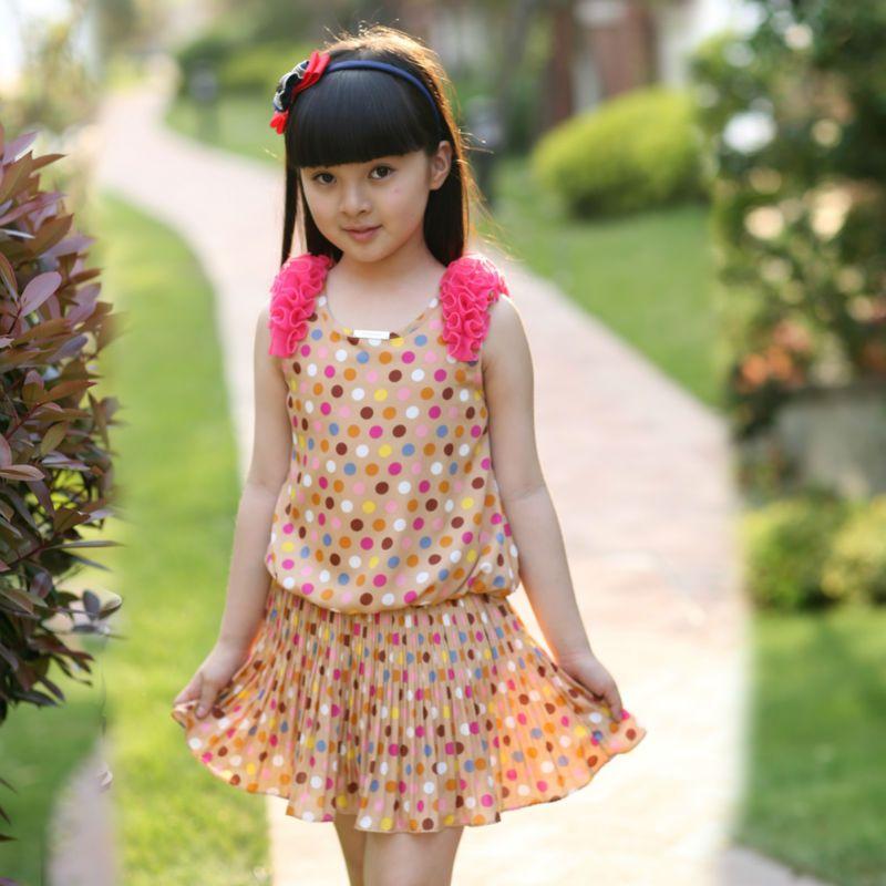 2014new Summer Fashion Girl Clothing Sweet Girl Print