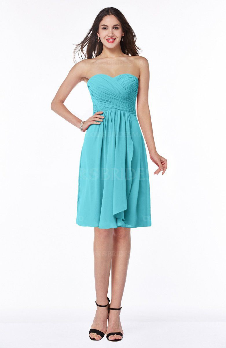 Turquoise Modern A Line Strapless Zip Up Chiffon Pleated Plus Size