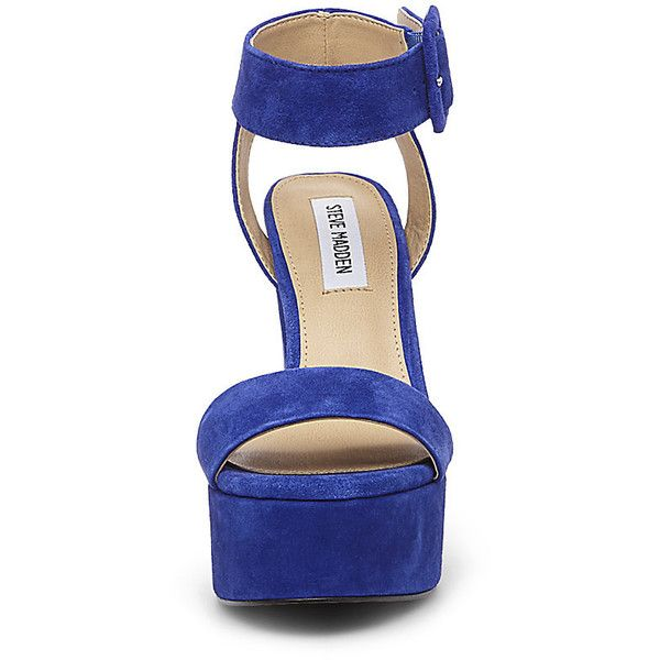 Steve Madden Joline Sandals ($50) ❤ liked on Polyvore featuring shoes, sandals, blu sde, tall shoes, fleece-lined shoes, high heel sandals, platform sandals and chunky-heel sandals