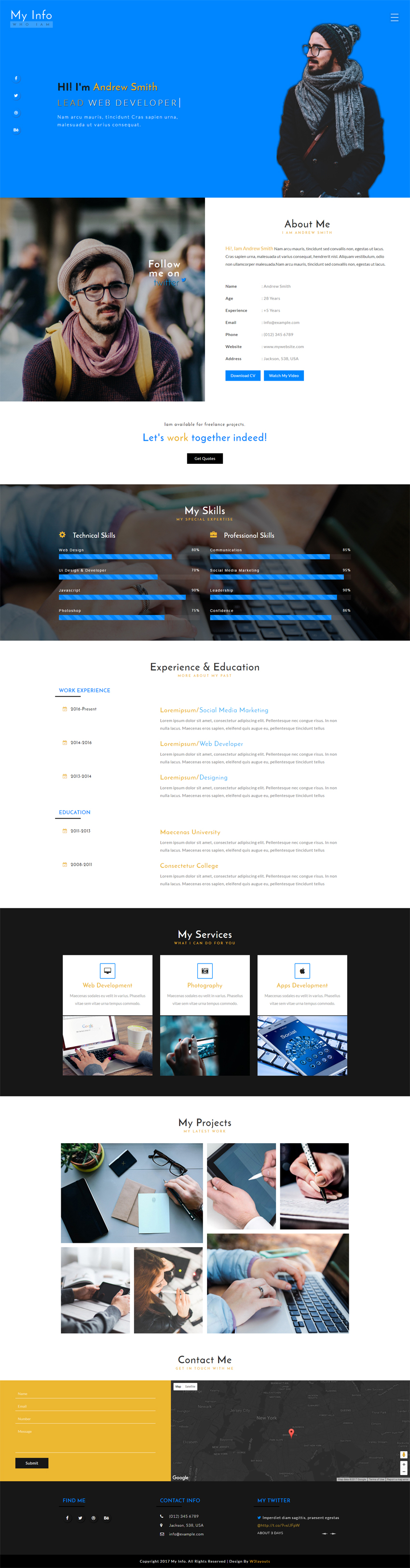 My Info Personal Profile Bootstrap Responsive Web Template | Free ...