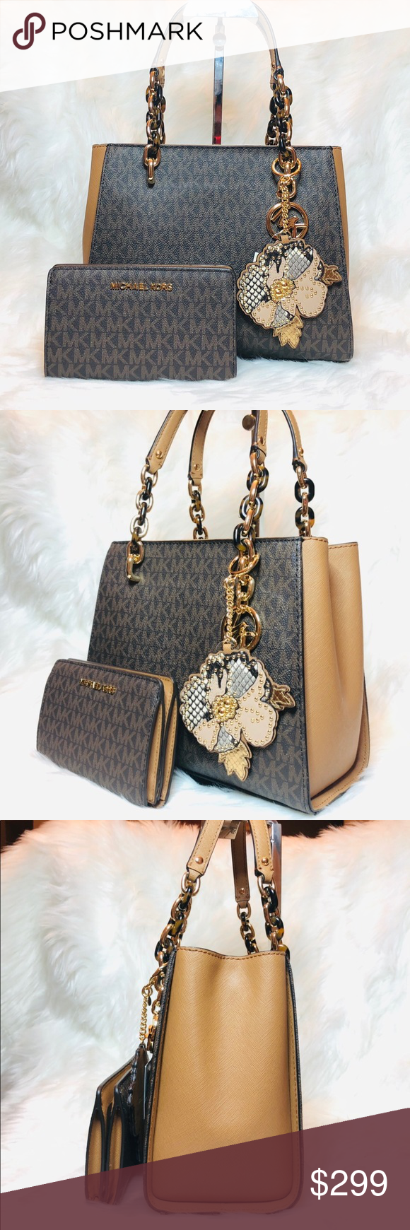 94d492850115 Spotted while shopping on Poshmark  3PCS Michael Kors Sofia Tote Wallet  Leather Charms!  poshmark  fashion  shopping  style  Michael Kors  Handbags