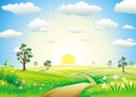 Cartoons Sunrise 02 Vector Nature Vector Background Vector Free