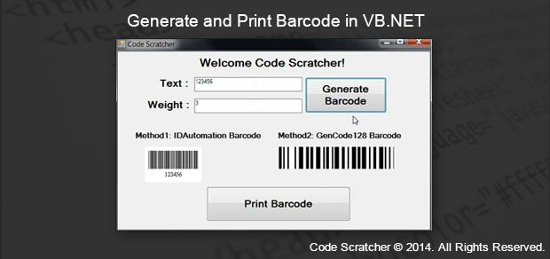 Generate and Print Barcode in VB NET | Code Scratcher | Coding