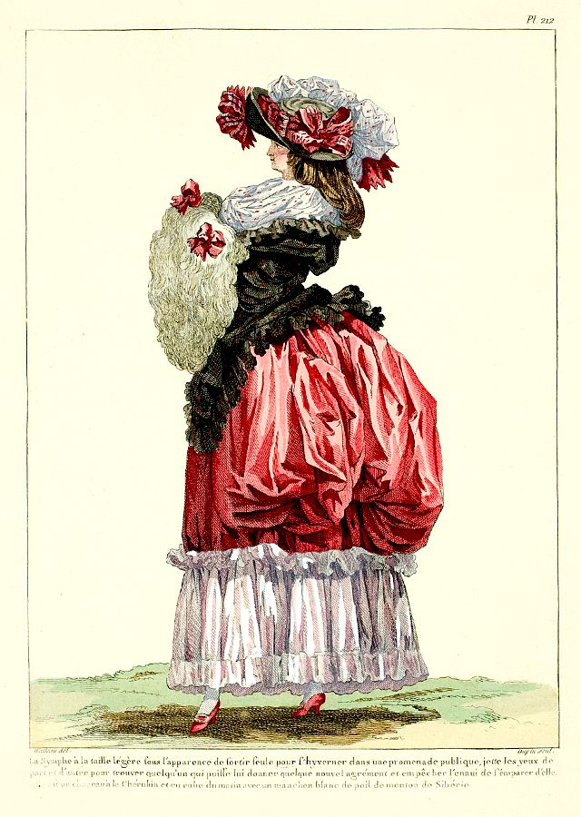 1785 Walking Dress and Siberian Sheepskin Muff - French Fashion Plate - 1912 version