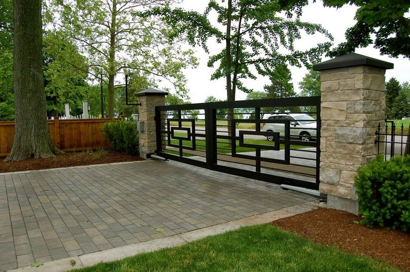 Decorating: Awesome Terrace With Modern Iron Fences Design ... on Gate Color Ideas  id=49319