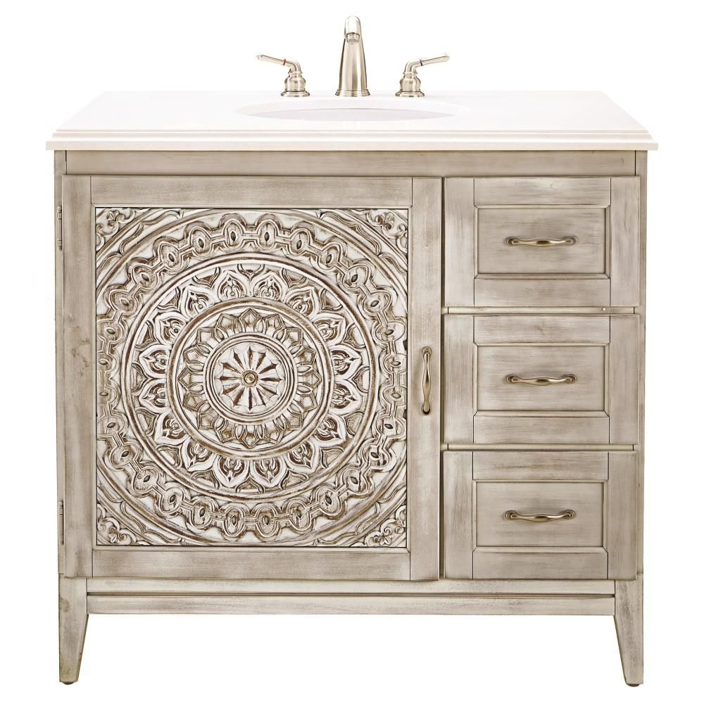 Home Decorators Collection Chennai 37 In W Single Vanity White Wash With Engineered Stone Top Crystal Basin