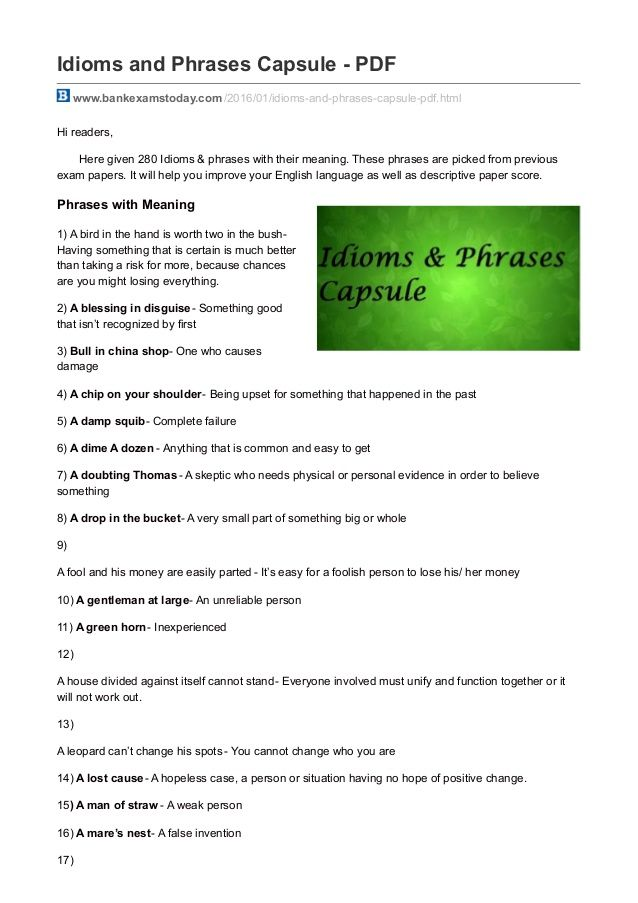 Idioms And Phrases Capsule Pdf Www Bankexamstoday Com 2016 01