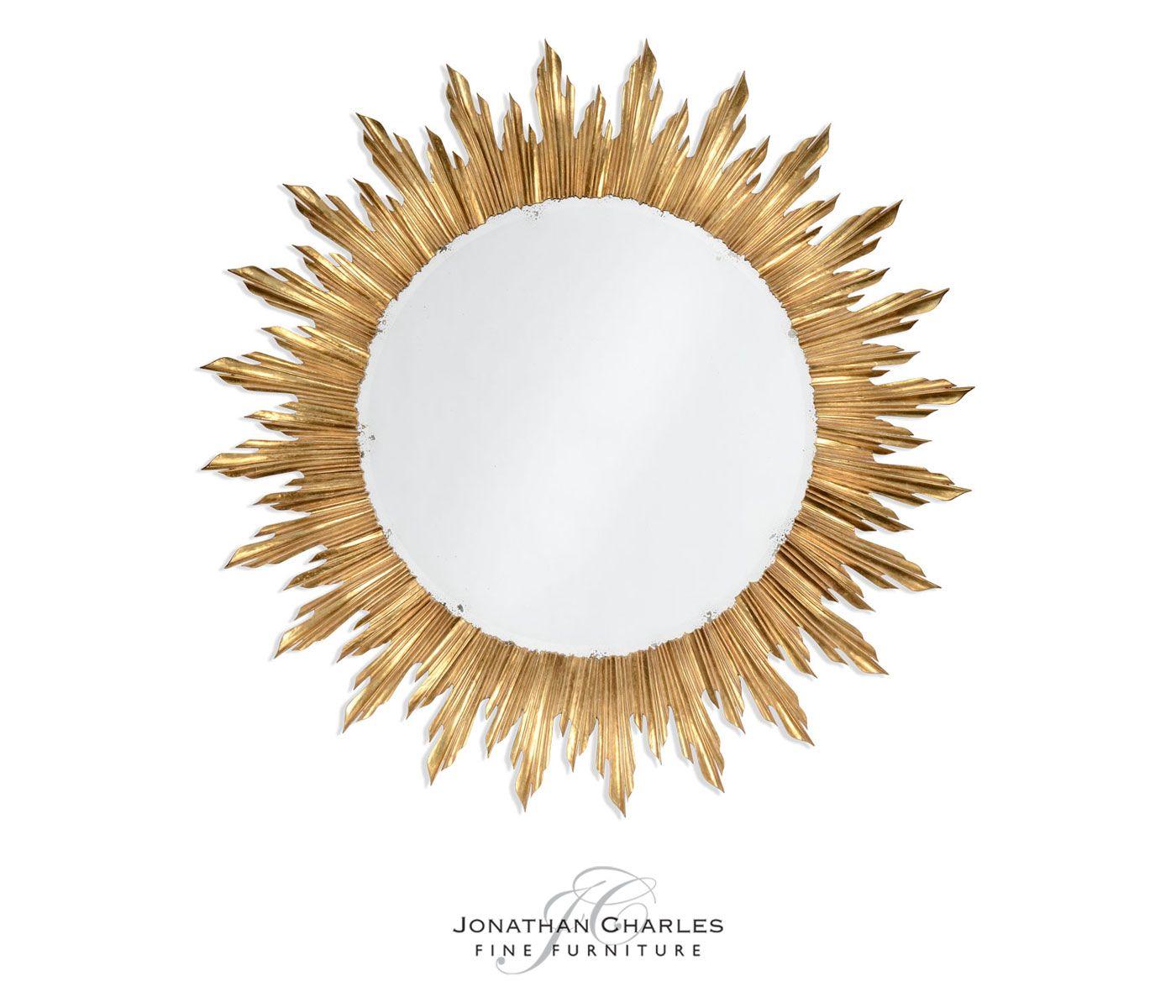Large gilt sunburst mirror #hpmkt #jcfurniture #jonathancharles #Furniture #InteriorDesign #decorex #versailles