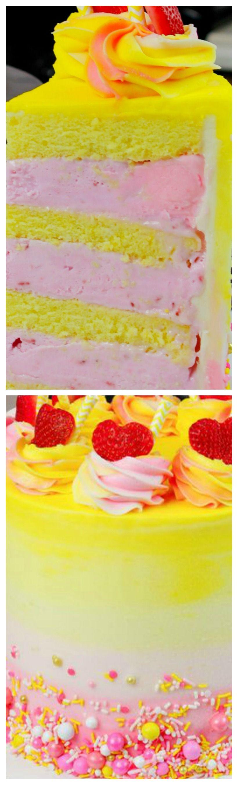 Pink Lemonade Ice Cream Cake