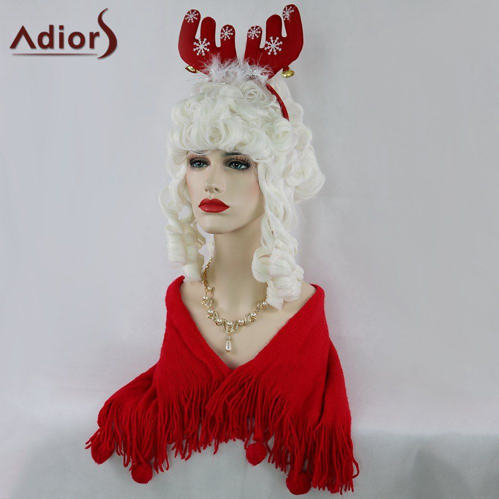 Adiors Long Full Bang Curly Christmas Party Santa Claus Wig men