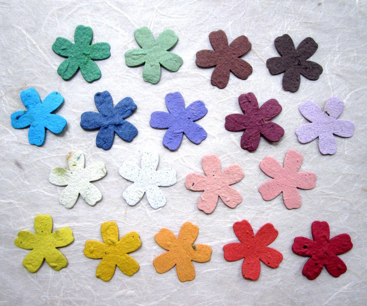 40 plantable paper flowers seed wedding favor by