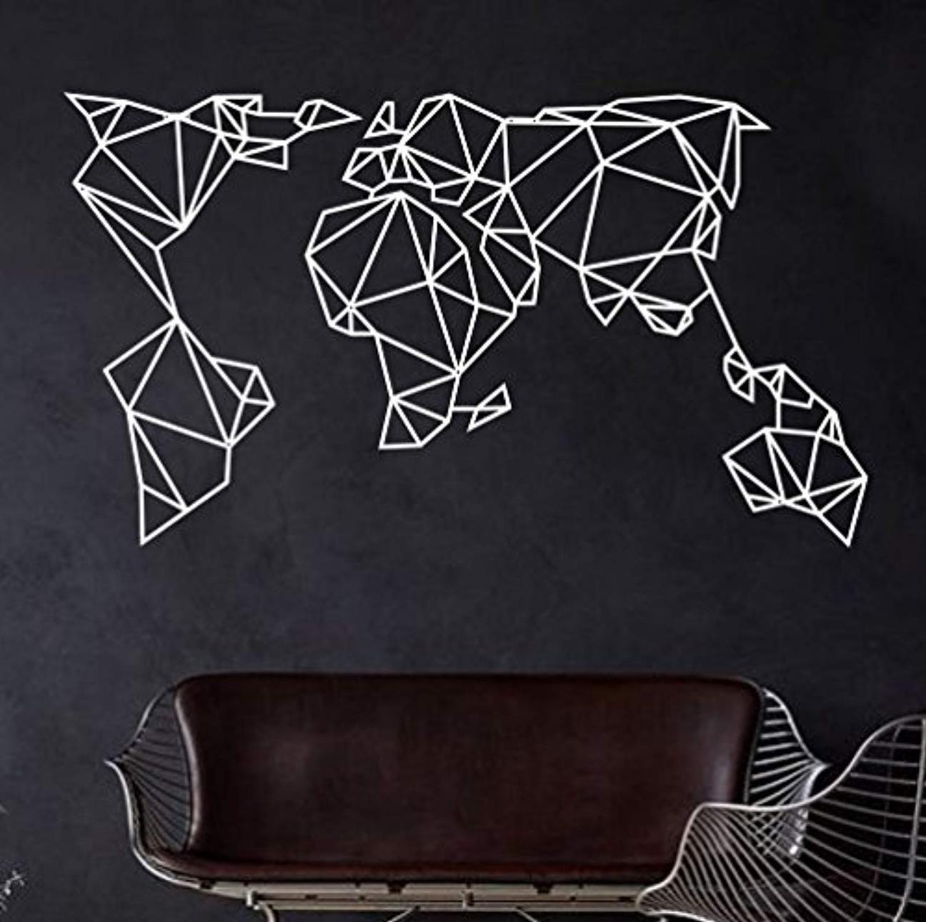 Geometric metal world map wall art white black large