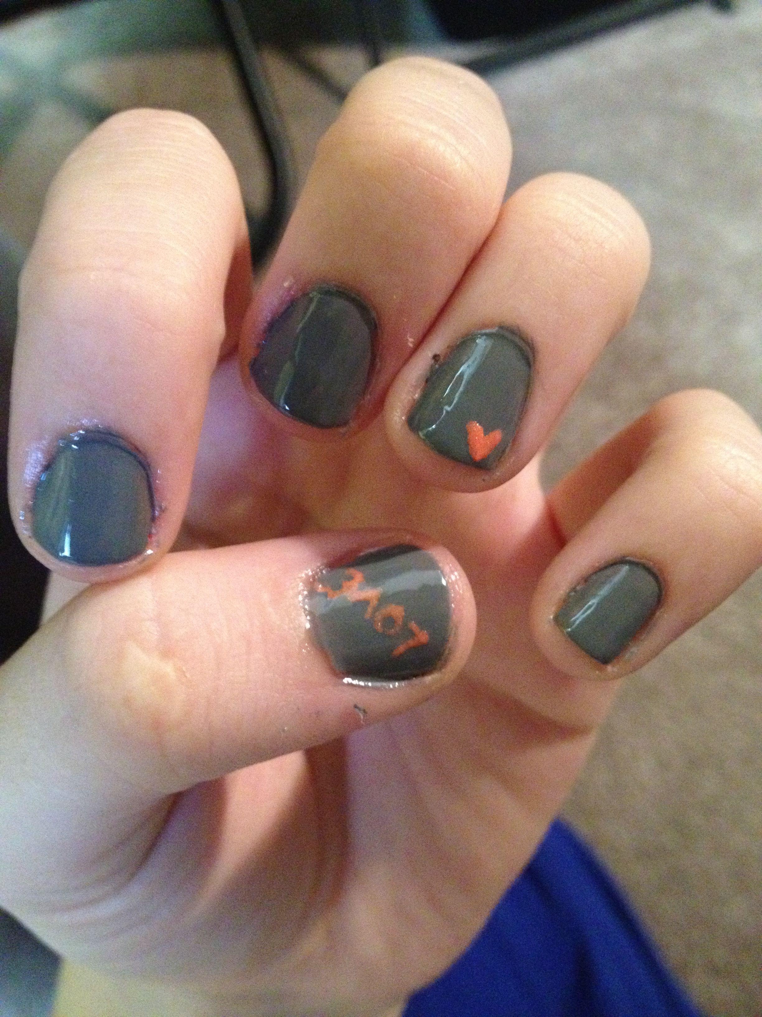 Finger nails! Grey and orange!