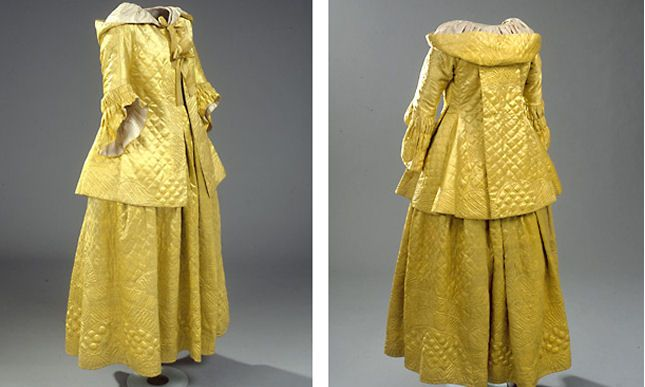 Quilted Bridal Skirt And Dress Yellow Silk Denmark 1778 Morning qIqBz