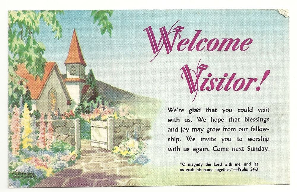 Welcome visitor greetings religious church posted 1956 vintage welcome visitor greetings religious church posted 1956 vintage postcard m4hsunfo