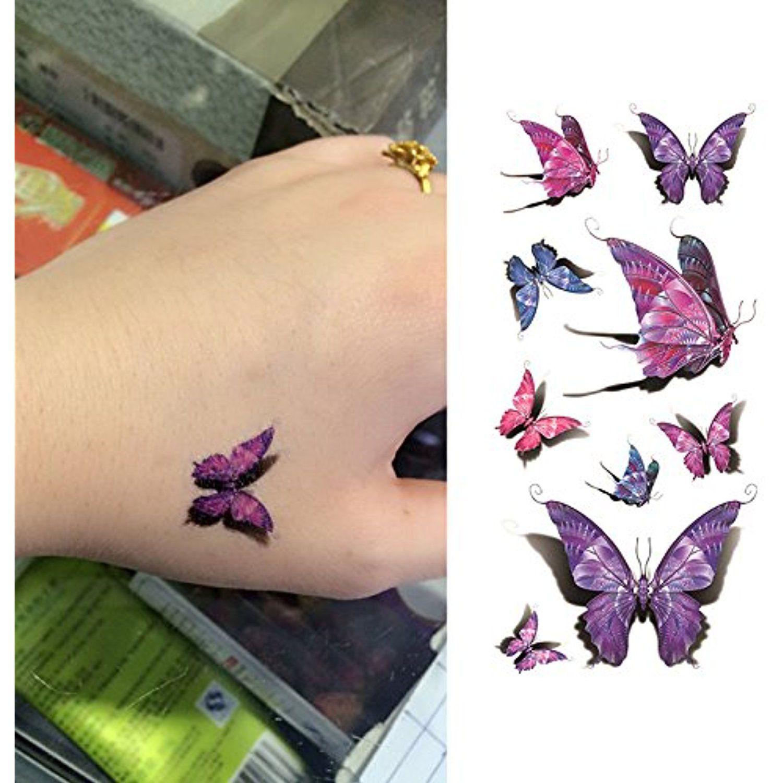Oottati d vivid purple butterfly hand temporary tattoo sheets