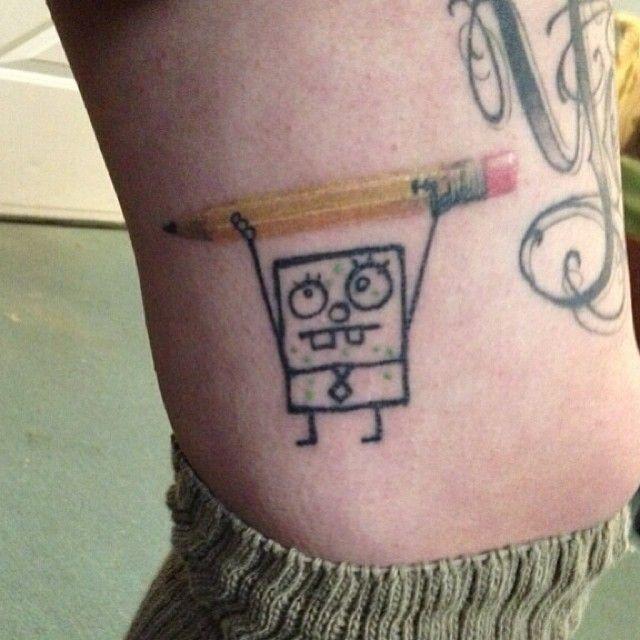 78141fd13af65 Several funny spongebob tattoo designs and ideas. #tattoos #spongebob  #spongebobtattoos #funnytattoos #tattooswag