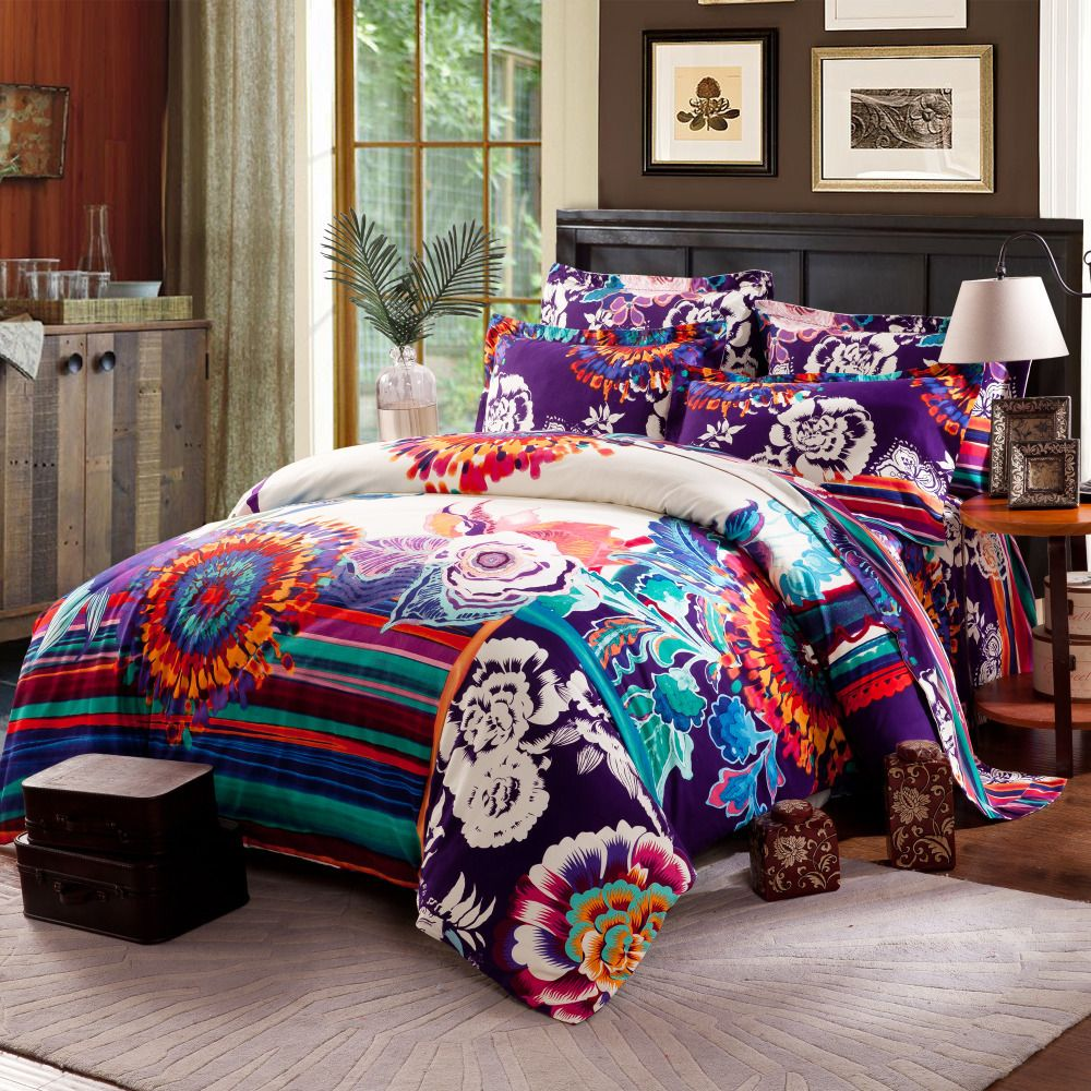 Twin Full Queen Size 100 Cotton Bohemian Boho Style Beautiful Duvet Covers Comforter Sets Modern Bedding Flora Full Bedding Sets Boho Bedding Sets Bedding Sets
